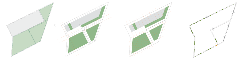 parti: public v. private, desired view, structural grid, and historic v. proposed fenestration